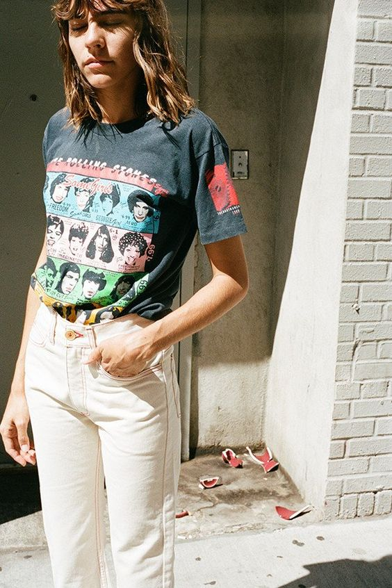 Graphic tees and white jeans | Girlfriend is Better
