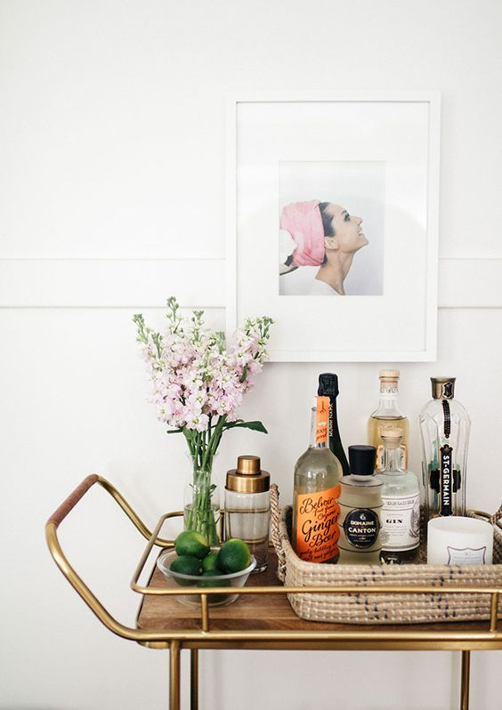Natural decor warms up a mid-century modern bar cart | Girlfriend is Better