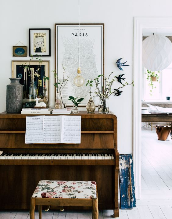 Create a piano nook by a doorway | Girlfriend is Better