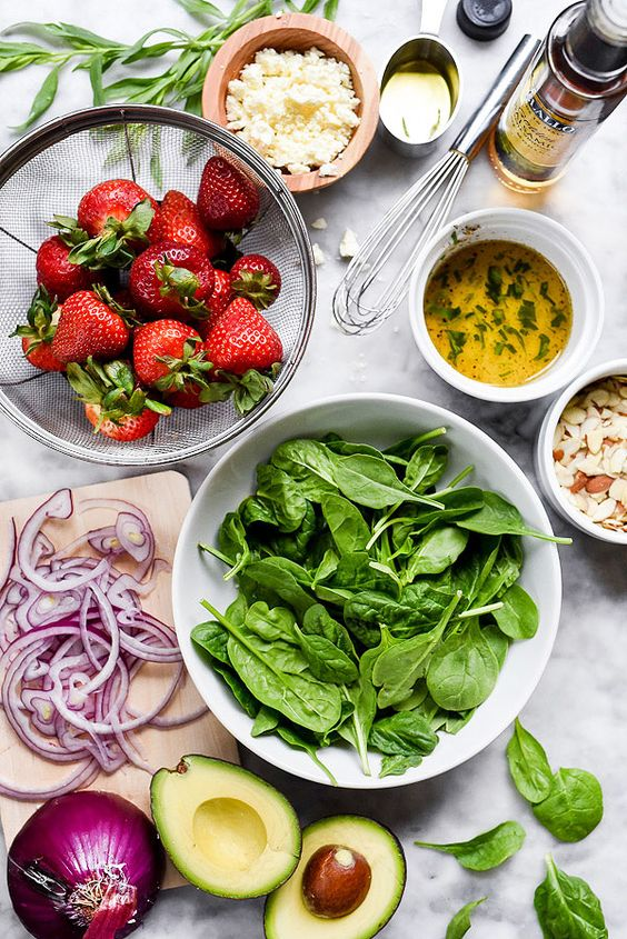 Ingredients for Strawberry Avocado Spinach Salad recipe | Girlfriend is Better