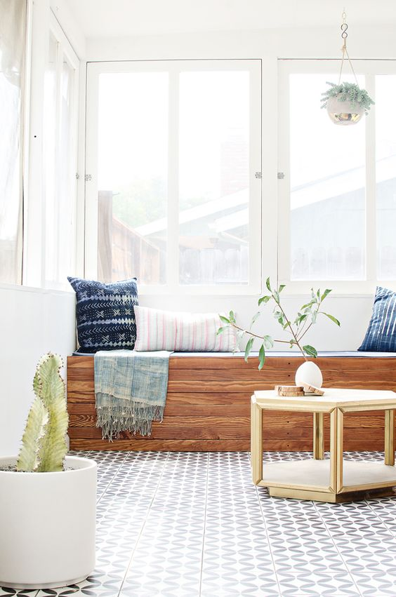 Minimal sunroom with cactus + tile | Girlfriend is Better