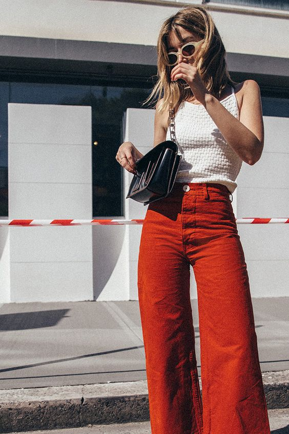 Flared high-rise pants in yellow and orange for spring and summer fashion | Girlfriend is Better