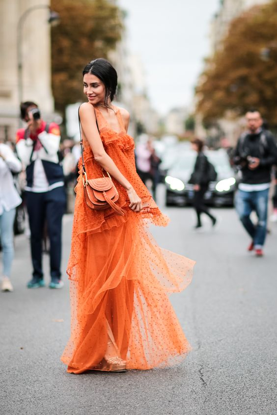Yellow and orange maxis in monochrome | Paris Fashion Week SS17 Street Style | Girlfriend is Better