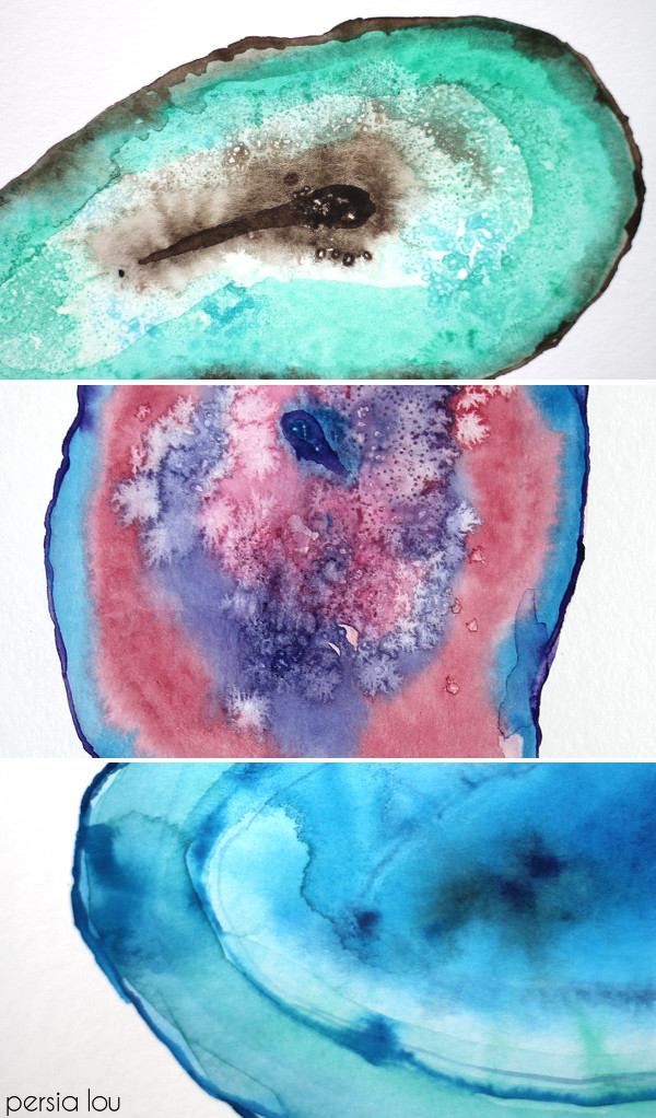 Agate watercolor artwork DIY | Girlfriend is Better