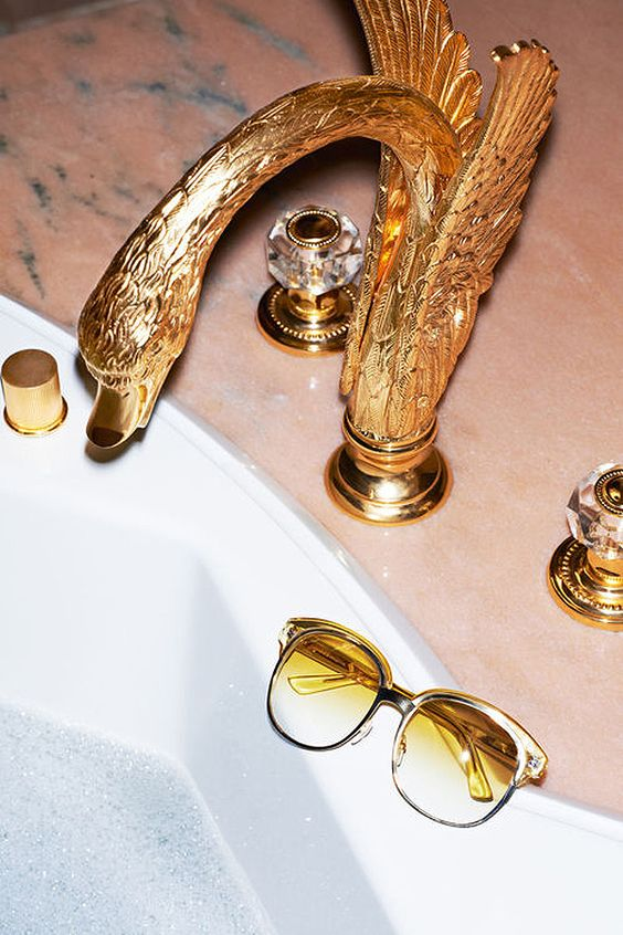 Gold swan faucet   Glam home decor   Girlfriend is Better