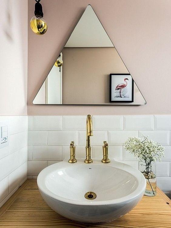 Geometric mirrors | Triangle mid-century modern bathroom | Girlfriend is Better