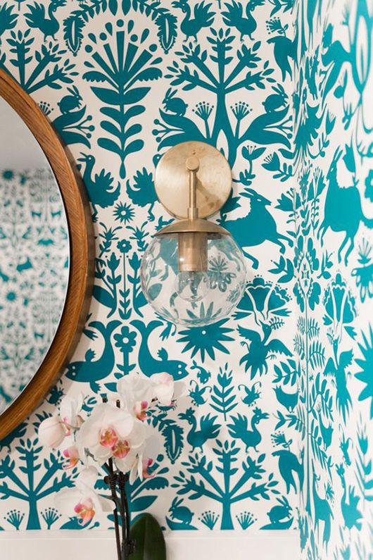 Round geometric mirrors and pretty bathroom wallpaper | Girlfriend is Better