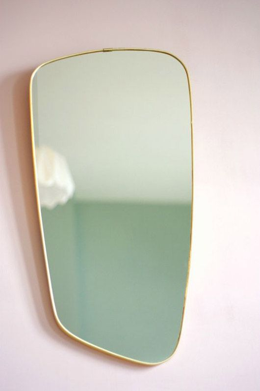 Vintage Italian f.a.33 geometric mirror with brass frame | Girlfriend is Better