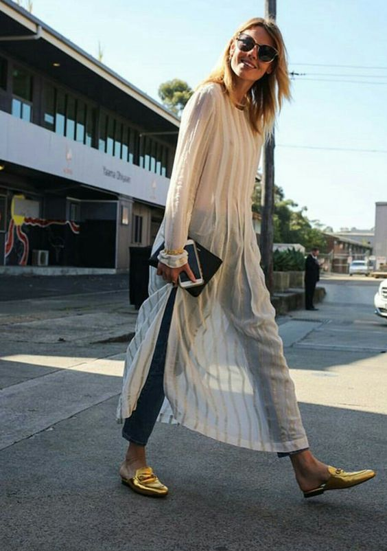 Long sheer slips layered over skinny jeans | Girlfriend is Better