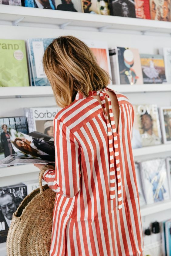 Bold stripes with tie back blouse   Girlfriend is Better