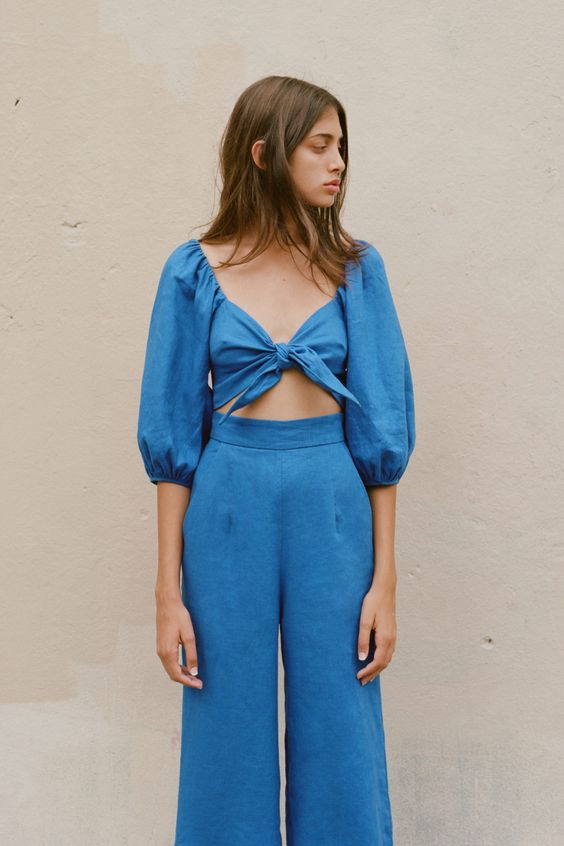 Mara Hoffman tie front top and high-rise pants look like a jumper | Girlfriend is Better
