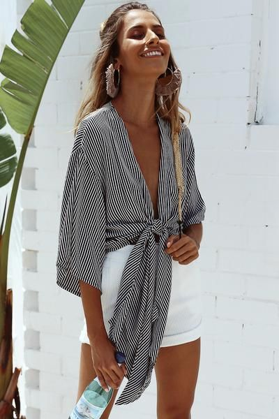 Long tie front stop in stripes | Girlfriend is Better