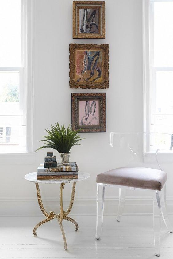 Hunt Slonem rabbit gallery wall modern decor | Girlfriend is Better