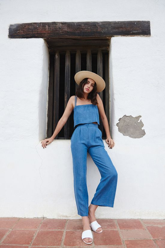 Summer sandals | Slides with denim culotte jumper and straw hat | Girlfriend is Better