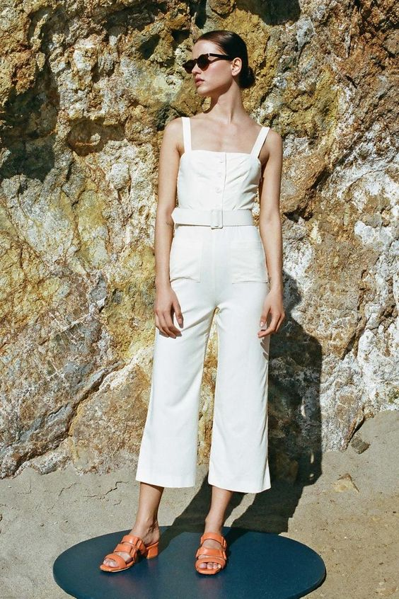 60's style block heel sandals and all white outfit with culottes | Girlfriend is Better