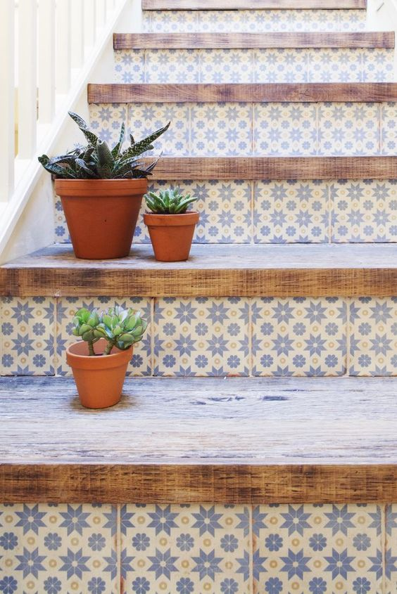 Blue tile stair risers with wood plank steps | Girlfriend is Better