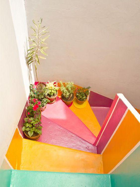 Rainbow stairway in well lit hall | Girlfriend is Better