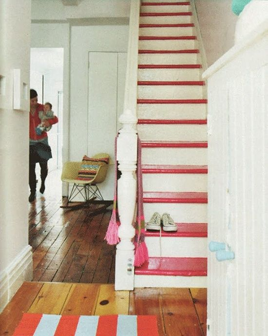 White stair rises and bannister with pink steps | Girlfriend is Better