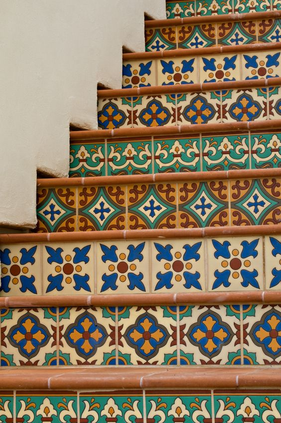 Spanish tile stair risers | Girlfriend is Better