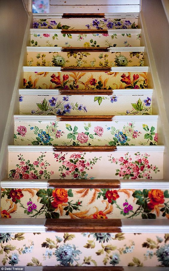 Vintage fabric stair risers chic staircase | Girlfriend is Better