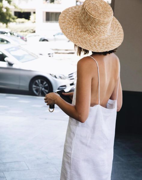 Wide brim boater straw hats with white dress | Girlfriend is Better