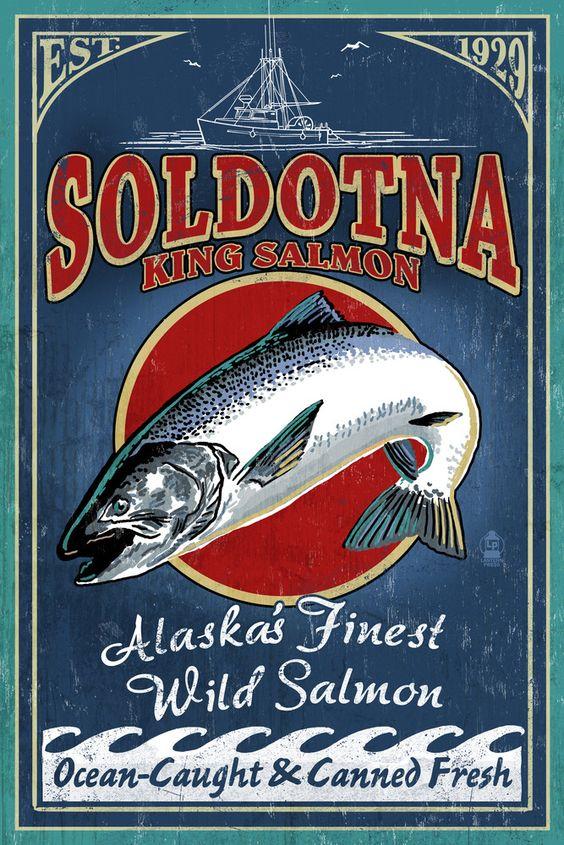 Vintage Soldotna King Salmon poster | Alaska Travel tips | Girlfriend is Better