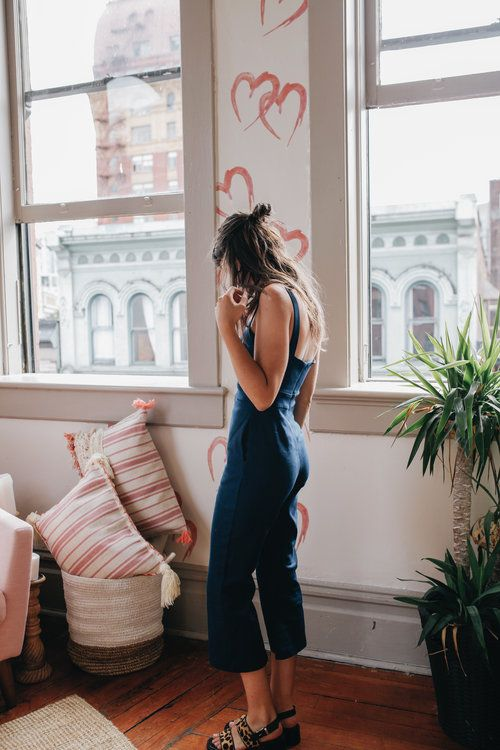 Denim jumpsuit with culottes   Girlfriend is Better