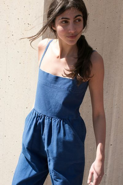 Denim jumpsuit with gathered waist | Girlfriend is Better