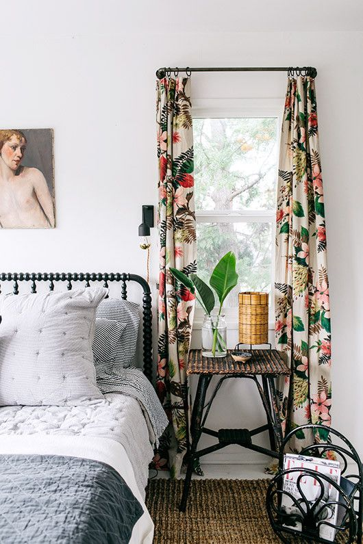 Floral curtains in tropical prints for the bedroom | Girlfriend is Better