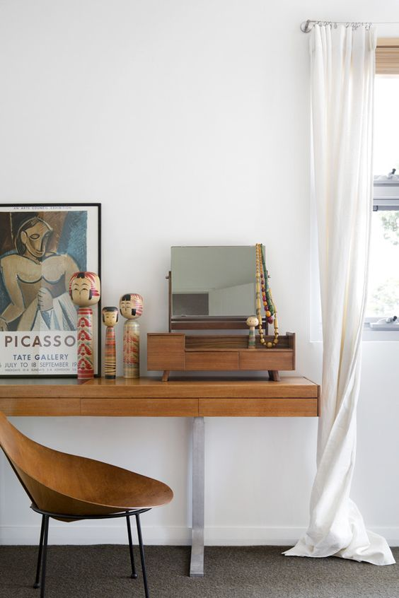 Mid-century modern dressing tables | 1954 Danish Moller sideboard | 1950's Roger McLay ply Cone chair | Girlfriend is Better
