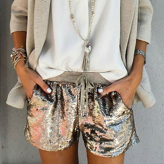 Sequin shorts suit two-piece natural blazer | Girlfriend is Better