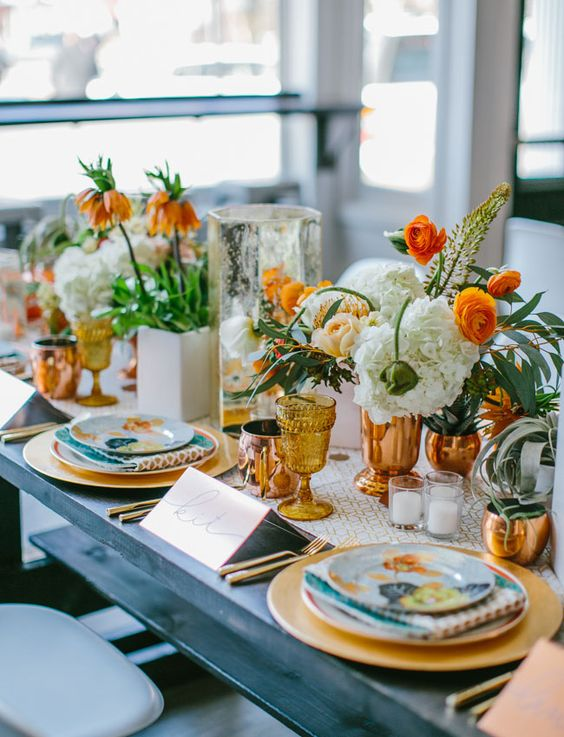 Amber glassware for Fall Table setting   Girlfriend is Better