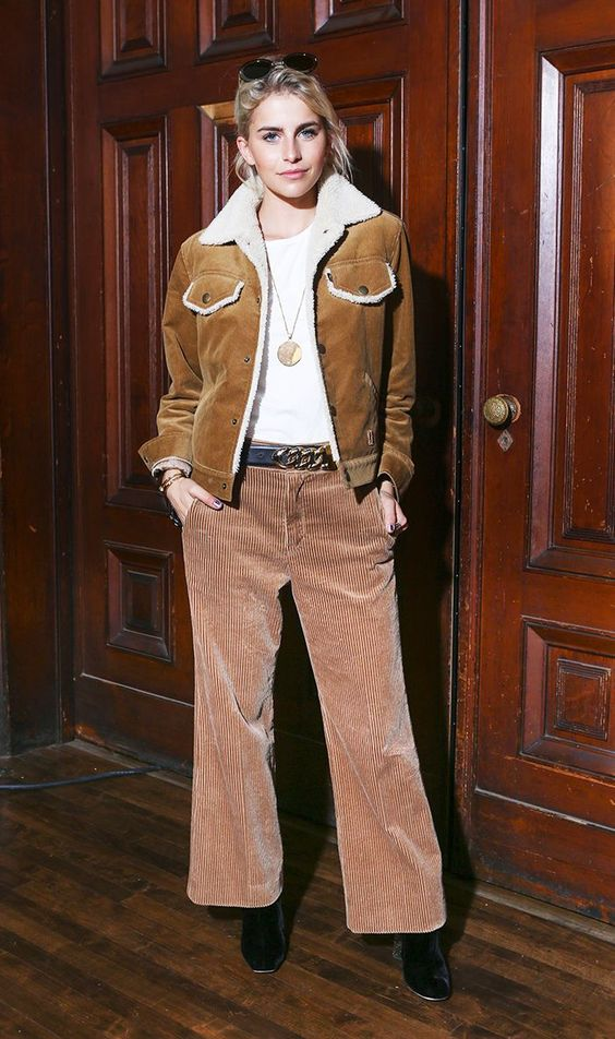 Western shearling jacket with cropped wide-leg corduroy pants | Girlfriend is Better