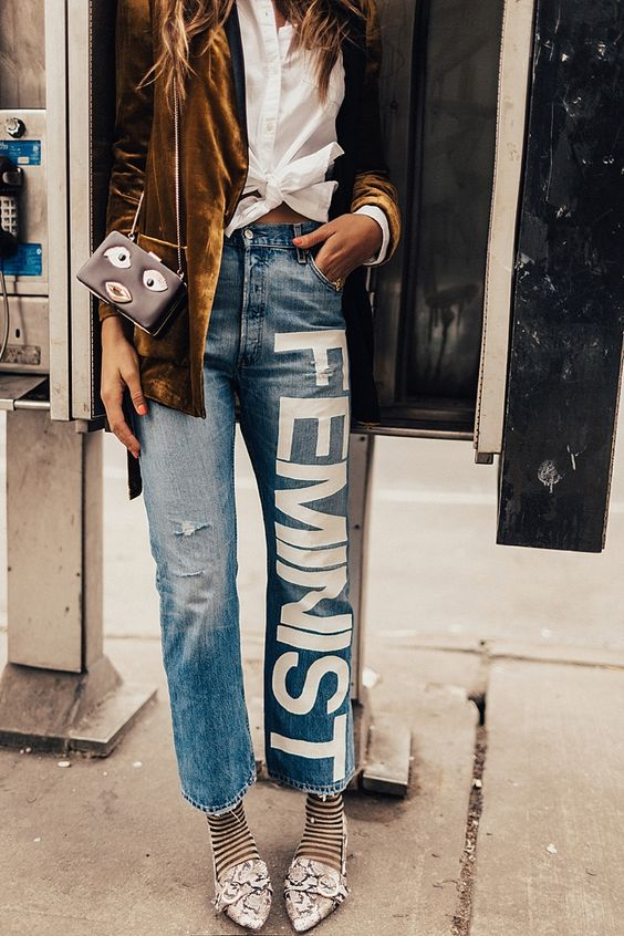 Feminist lettering patch on distressed denim   Girlfriend is Better
