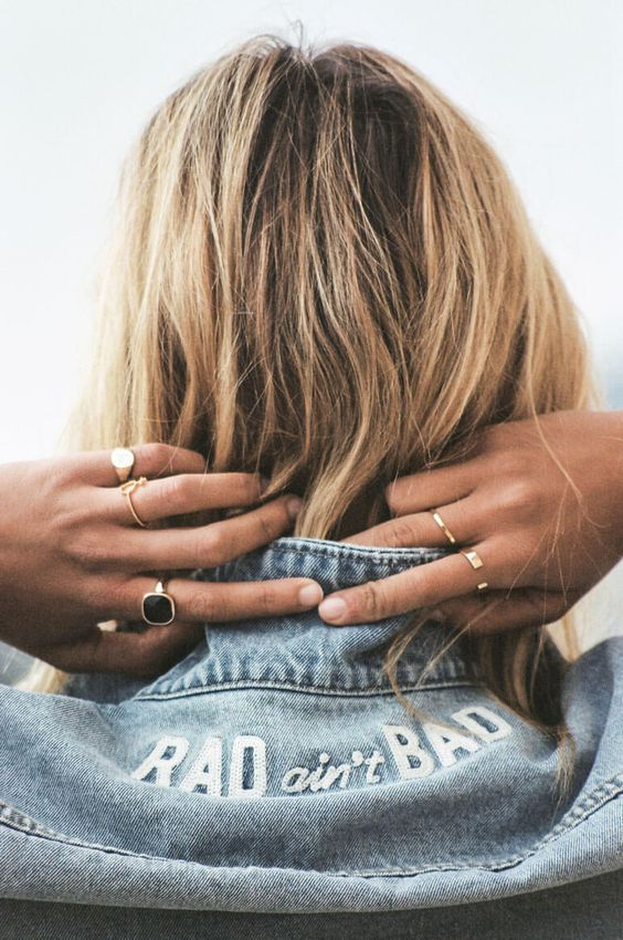 Rad Ain't Bad embroidered lettering on denim jacket | Girlfriend is Better