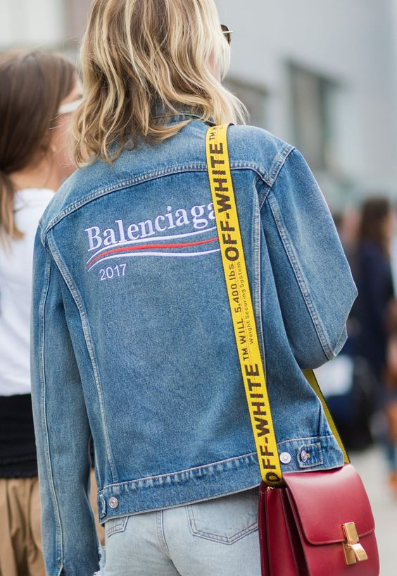 Balenciaga embroidered lettering on jean jacket | Girlfriend is Better