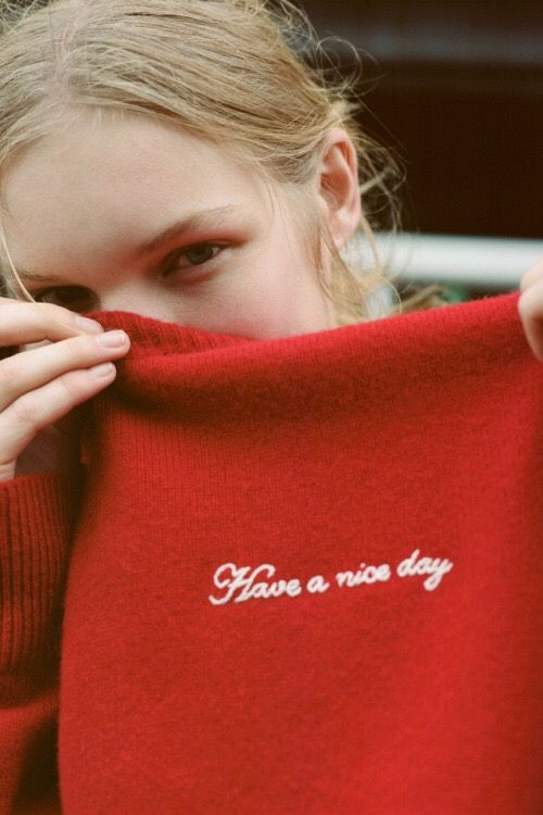 Have a Nice Day embroidery on red sweater | Girlfriend is Better