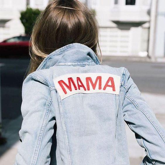 Custom MAMA lettering on patch | Denim jacket | Girlfriend is Better