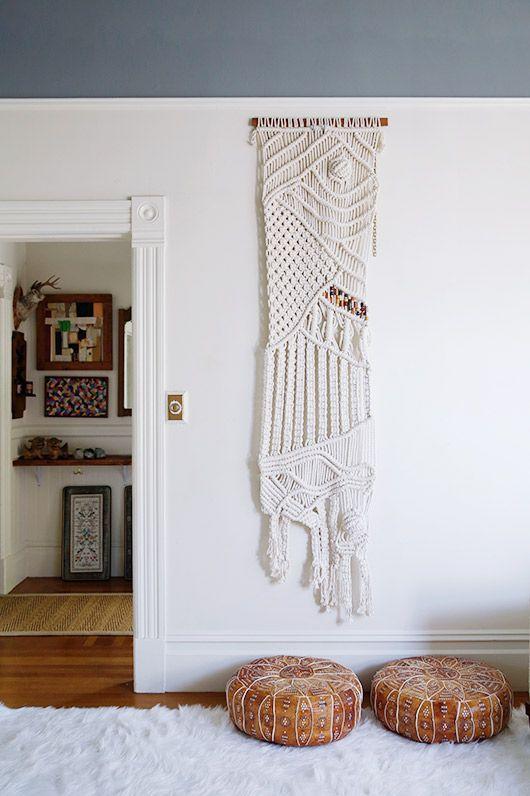 Minimal style macrame wall hangings frame doorways   Girlfriend is Better