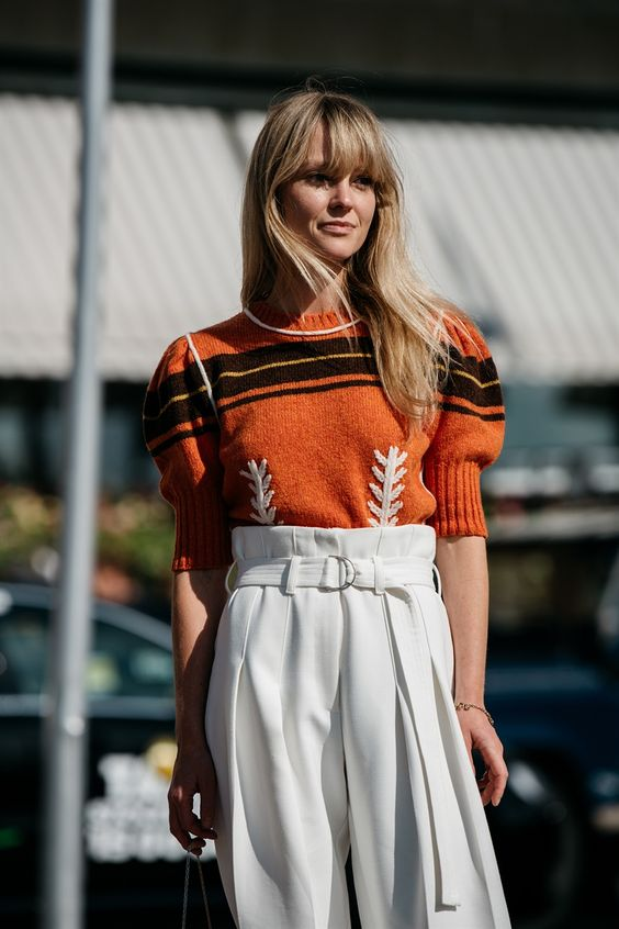 Orange embroidered striped sweater and high-waist slacks | Girlfriend is Better