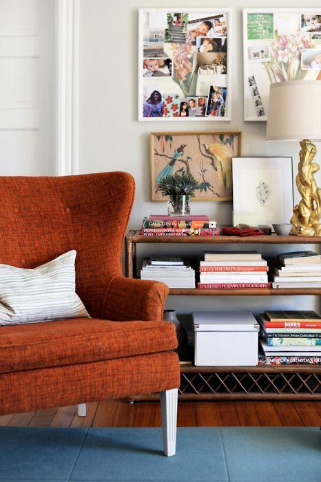 Orange mid-century modern wingback chair | Girlfriend is Better