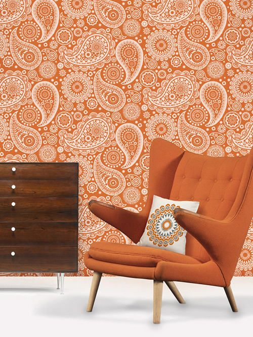 Orange mid-century modern wingback chair paisley wallpaper | Girlfriend is Better