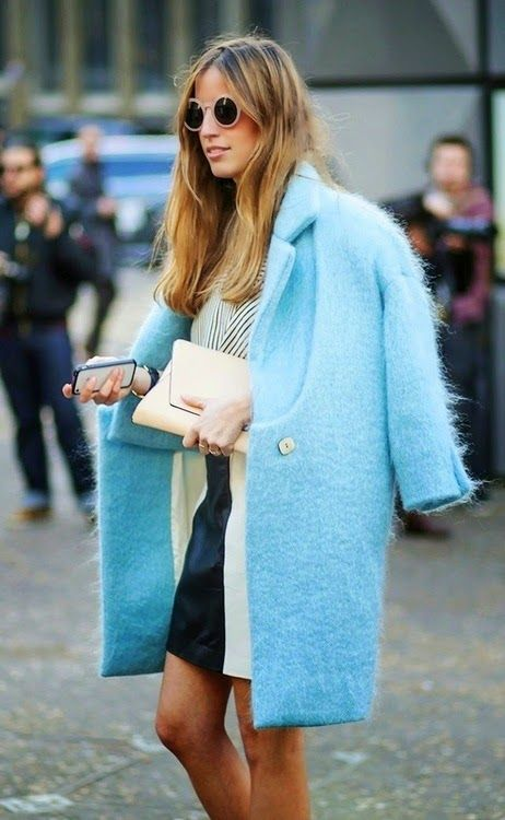 Long fur coats for Fall Winter in robin's egg blue | Girlfriend is Better
