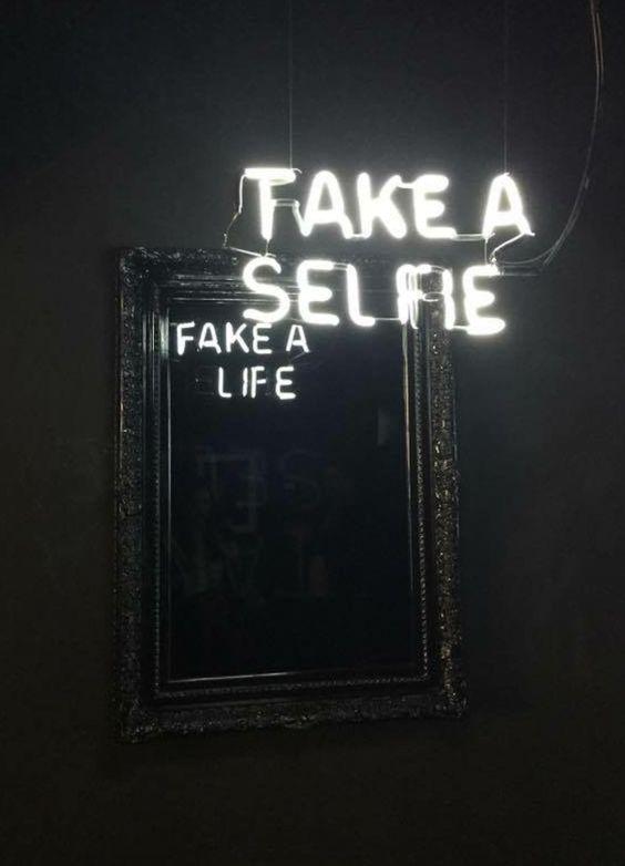 Take a Selfie/Fake a Life Neon art by Camilo Matiz | Girlfriend is Better