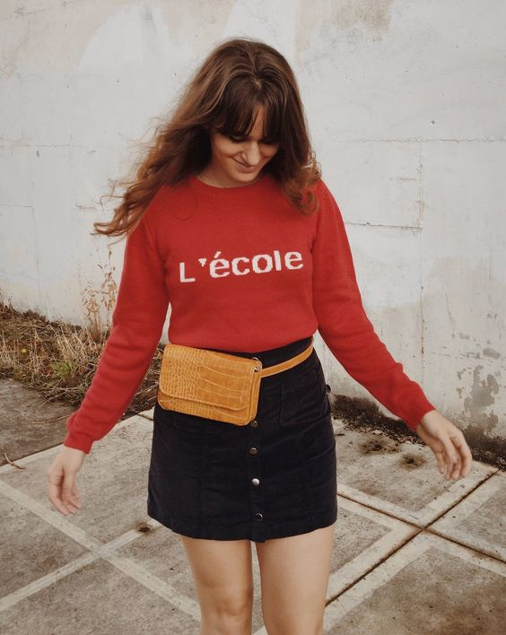 Red French sweater and fanny pack | Girlfriend is Better