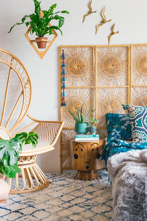 Vintage rattan screen and peacock chair | Celestial decor sun | Girlfriend is Better