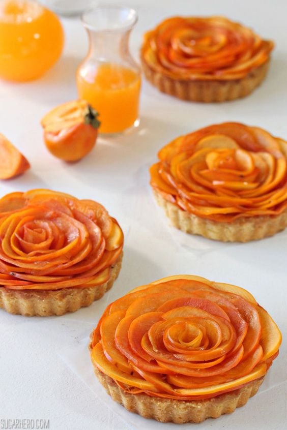 Persimmon Almond Rosette Tarts | Persimmons recipes and health benefits | Girlfriend is Better