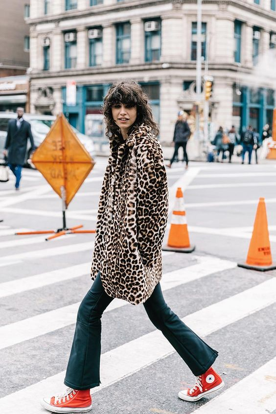 Winter fashion street style | Cheetah print fur coat red Converse | Girlfriend is Better
