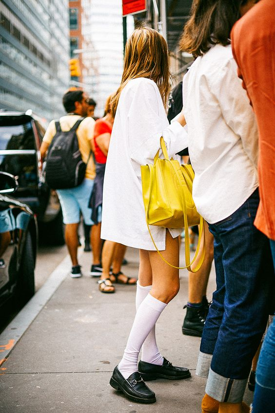 New York Fashion Week Spring skirts and dresses with knee socks and loafers | Girlfriend is Better