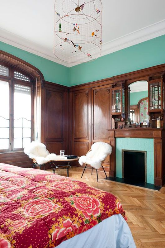Teal painted walls | French country bedroom | Girlfriend is Better